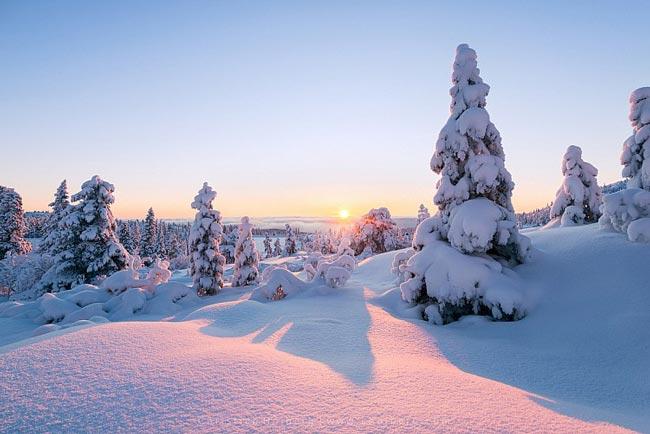 sunrise winter photography - 5 ترفند برای عکاسی از مناظر زمستانی